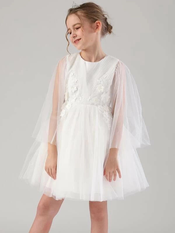 Girls Bow Back Pearl Beading Appliques Tulle Party Dress