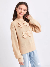 Girls Bow Detail Drop Shoulder Lantern Sleeve Sweater