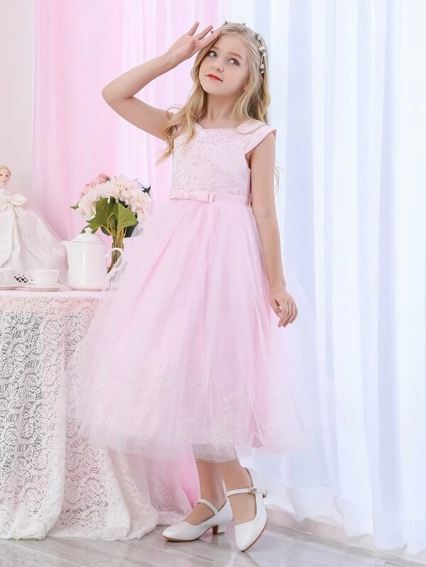 Girls Bow Detail Pearl Beaded Appliques Tulle Party Dress