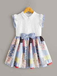 Girls Bow Detail Ruffle Trim Schiffy Bodice Patchwork Dress