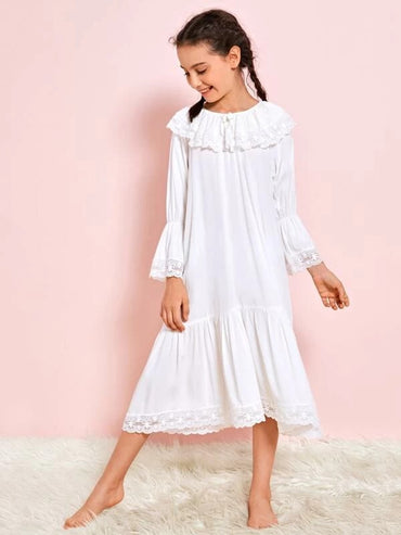 Girls Bow Front Embroidery Mesh Ruffle Trim Nightdress