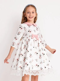 Girls Bow Front Lace Hem Floral Dress