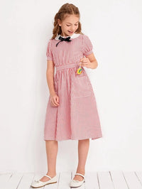 Girls Bow Front Peter Pan Collar Striped Dress