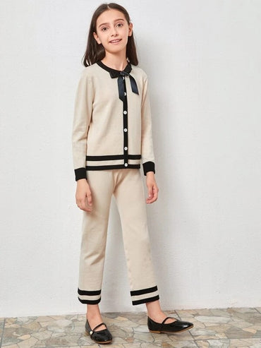 Girls Bow Front Sweater & Pants Set