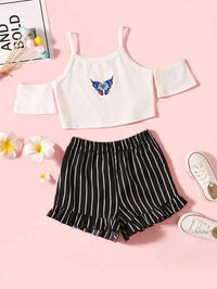 Girls Butterfly Print Cold Shoulder Crop Tee With Striped Shorts