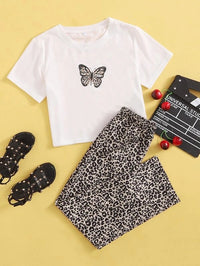 Girls Butterfly Print Tee & Leopard Pants