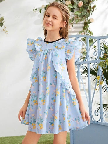 Girls Butterfly Sleeve Ruffle Trim Floral Dress
