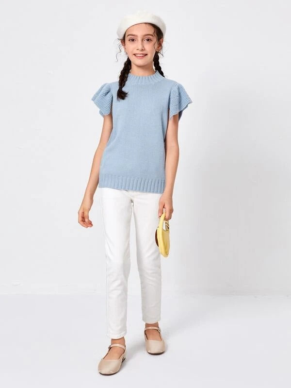 Girls Butterfly Sleeve Solid Knit Top