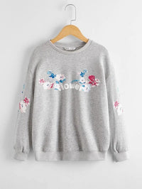 Girls Butterfly & Letter Graphic Pullover