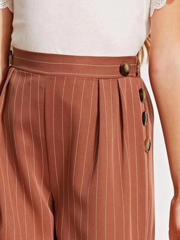Girls Button Detail Fold Pleated Striped Palazzo Pants
