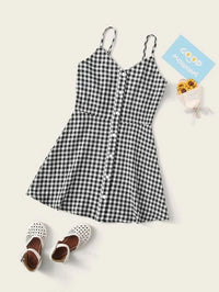 Girls Button Front Buffalo Plaid Cami Dress