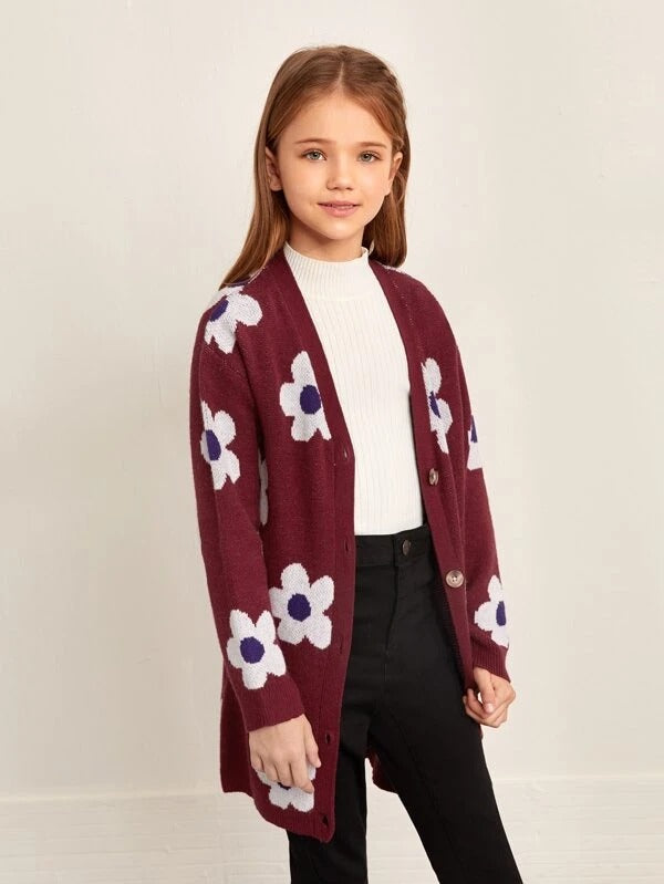 Girls Button Front Floral Cardigan