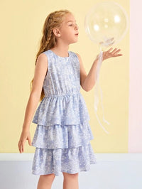 Girls Button Front Floral & Striped Layered Ruffle Hem Dress