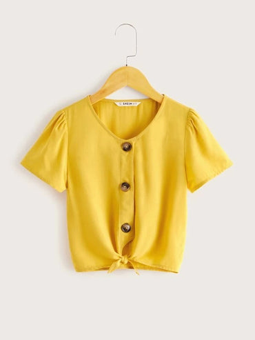 Girls Button Front Knotted Hem Blouse