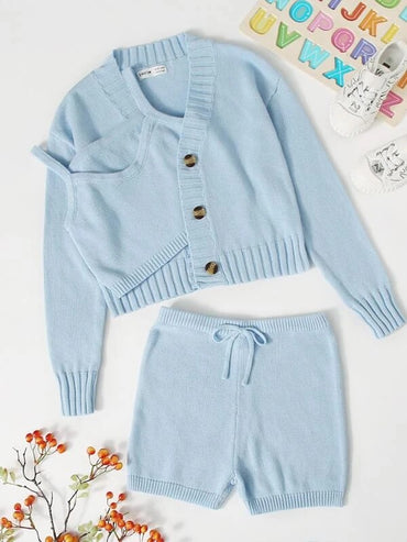 Girls Button Placket Solid Cardigan & Knot Waist Shorts Set With Cami