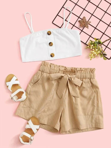 Girls Buttoned Cami Top & Paperbag Waist Belted Striped Shorts Set