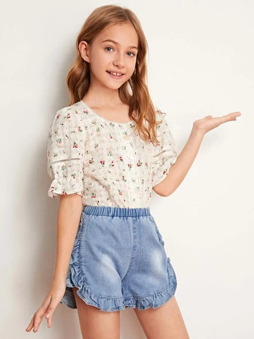 Girls Buttoned Front Eyelet Lace Insert Ditsy Floral Blouse