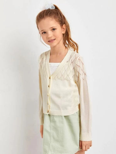 Girls Buttoned Front Pointelle Knit Cardigan