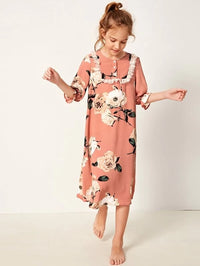 Girls Buttoned Front Ruffle Trim Floral Nightdress