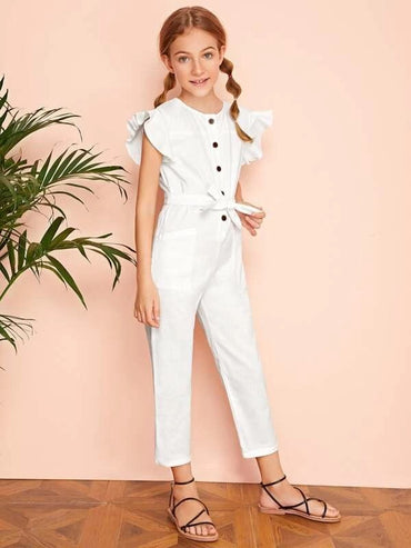 Girls Buttoned Front Ruffle Trim Patch Pocket Jumpsuit