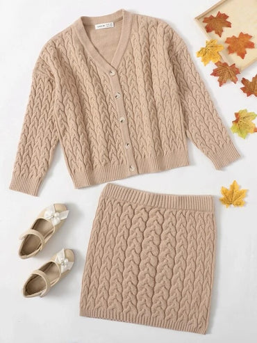 Girls Cable Knit Cardigan and Knit Skirt Set