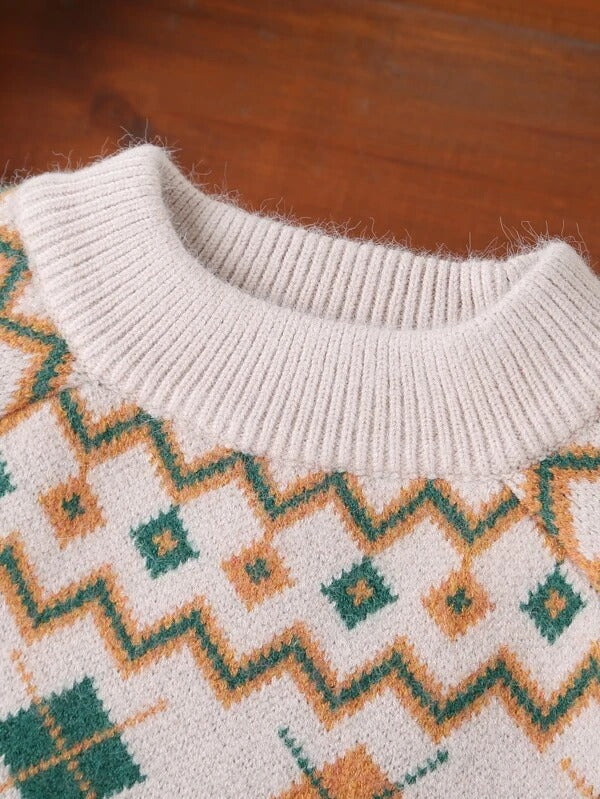 Girls Cable Knit Fair Isle Sweater