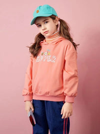 Girls Cartoon And Letter Graphic Drop Shoulder Hoodie