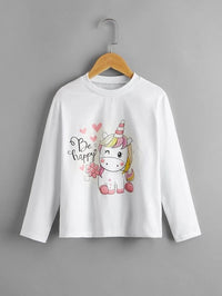 Girls Cartoon And Slogan Graphic Tee