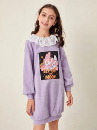 Girls Cartoon Graphic Eyelet Embroidered Ruffle Trim Sweatshirt Dress
