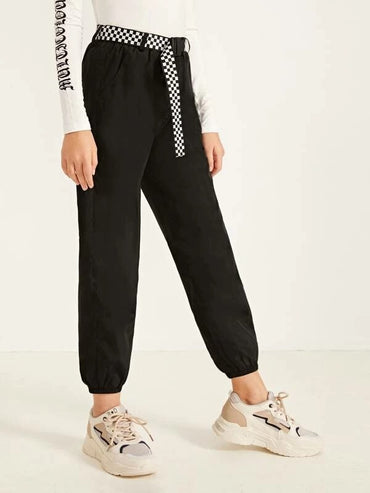 Girls Checked Buckle Belted Slant Pocket Wind Pants