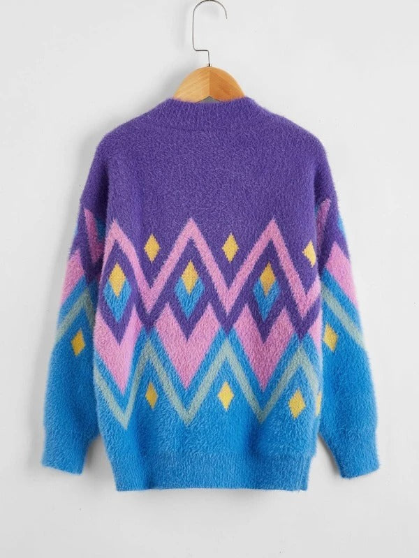 Girls Chevron And Argyle Pattern Fuzzy Sweater