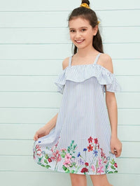 Girls Cold Shoulder Flounce Trim Floral & Striped Dress