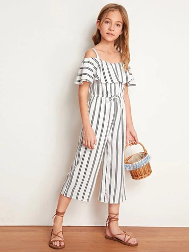 Girls Cold Shoulder Flounce Trim Striped Jumpsuit