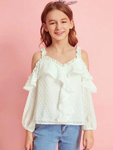 Girls Cold Shoulder Frill Trim Lace Tape Swiss Dot Top