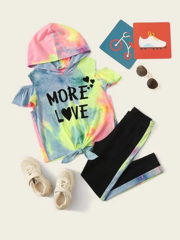 Girls Cold Shoulder Knot Letter Graphic Tie Dye Hoodie & Leggings Set