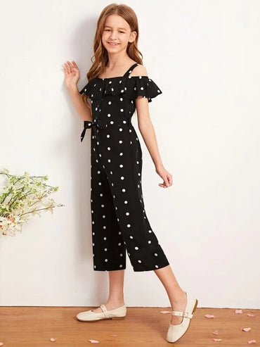 Girls Cold Shoulder Ruffle Trim Self Belted Polka-dot Jumpsuit