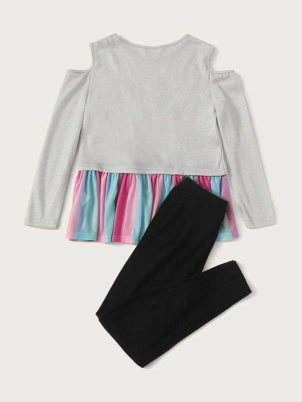 Girls Cold Shoulder Unicorn Patched Glitter Peplum Top & Leggings Set