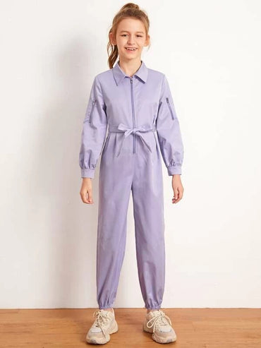 Girls Collared Zip Up Self Belted Windbreaker Jumpsuit