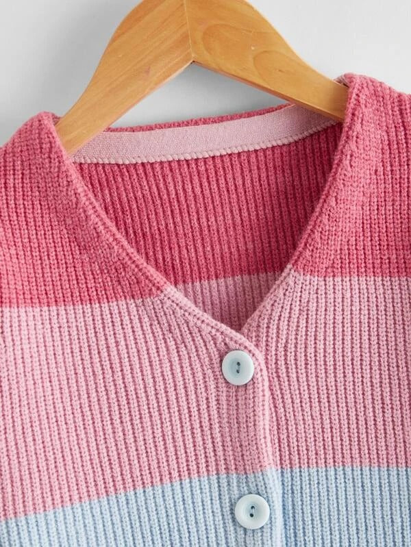 Girls Color-block Button Up Cardigan