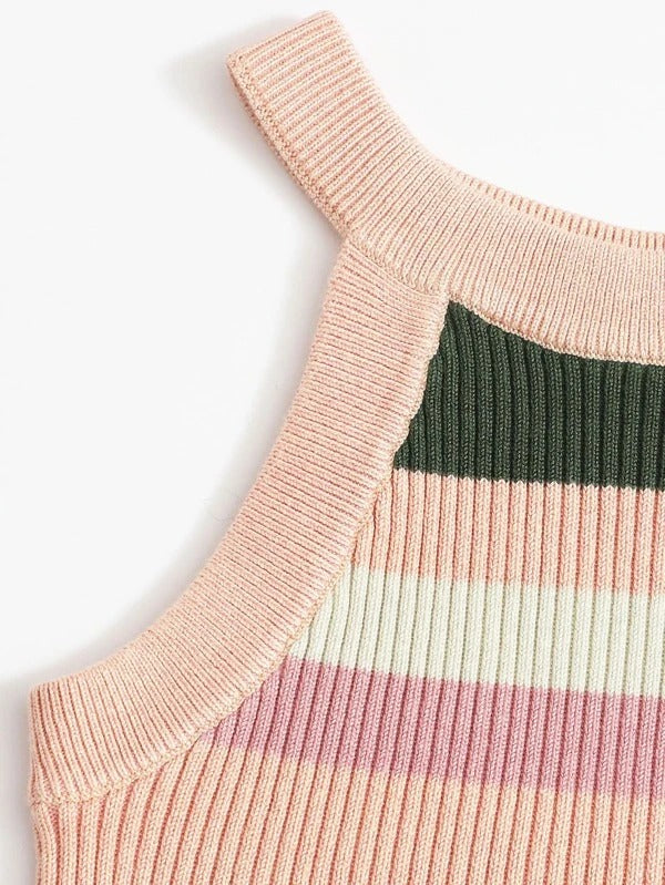 Girls Colorblock Halter Knit Top