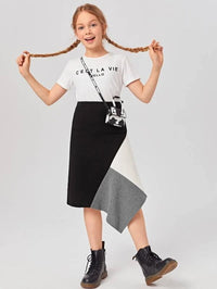 Girls Colorblock Hanky Hem Skirt