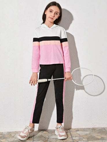 Girls Colorblock Hooded Top & Contrast Side Pants Set
