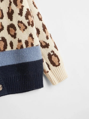 Girls Colorblock Leopard Pattern Rib-knit Neck Cardigan
