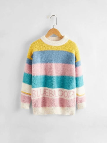 Girls Colorblock Letter Graphic Rib & Fluffy Knit Sweater