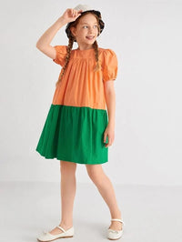 Girls Colorblock Puff Sleeve Dress