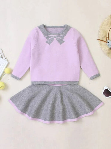 Girls Colorblock Round Neck Sweater With Skirt