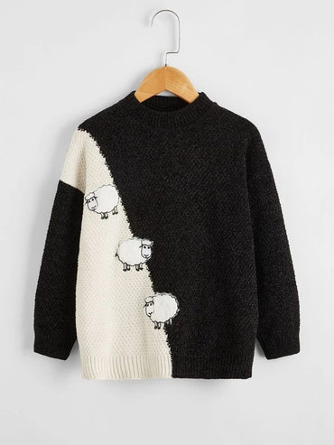 Girls Colorblock Sheep Embroidery Sweater