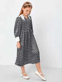 Girls Contrast Collar Polka Dot Dress
