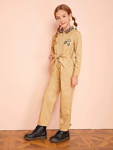 Girls Contrast Leopard Collar Patch Pocket Belted Jumpsuit