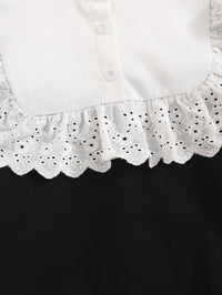 Girls Contrast Panel Eyelet Embroidered Ruffle Trim Pullover